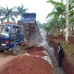 Construction of the new perimeter wall.